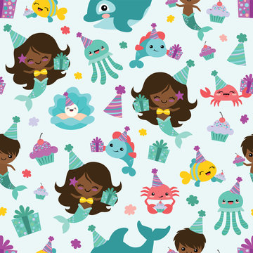 Vector People of Color Mermaid Birthday Sea Friends Seamless Pattern Background