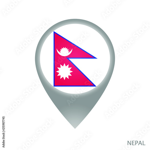 Map pointer with flag of Nepal. Gray abstract map icon. Vector ...