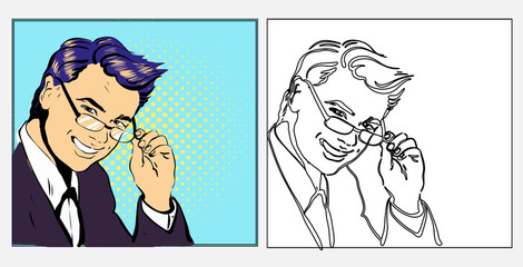 Businessman or teacher handsome in glasses smiling , pop art retro comic style hand drawn illustration in line black and white and colored versions