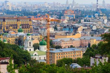 View of historical neighbourhood Podil in Kiev, Ukraine