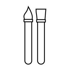 Paint brushes line icon isolated on white background. Vector illustration.