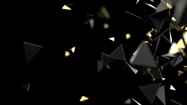 Polygonal macro particles on black background