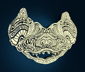 Zentangle Bat for tattoo in boho, hipster style. Ornamental tribal illustration . 3D rendering