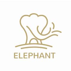 Line Art Elephant Logo Design Concept