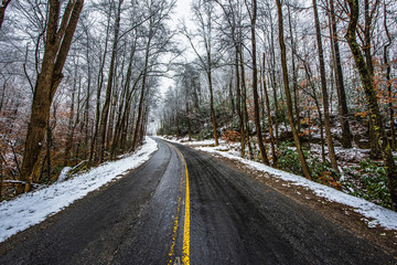 Snowy Road in Table Rock State Park near Greenville South Carolina SC