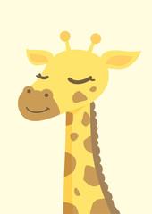 Close-up giraffe face, Cute cartoon character, vector illustration.