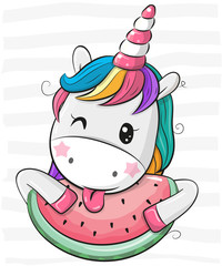 Cute Cartoon Unicorn with watermelon
