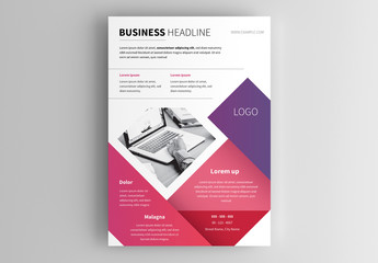 Business Flyer Layout with Pink and Purple Shapes