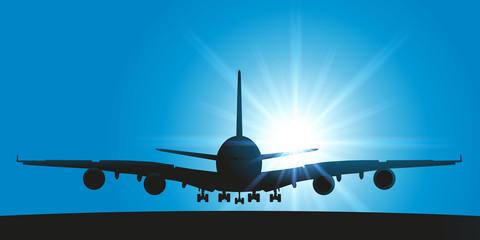 avion - avion de ligne - atterrissage - piste d'atterrissage - transport - vue de face - aéroport