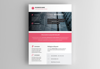 Business Flyer Layout with Pink Accents