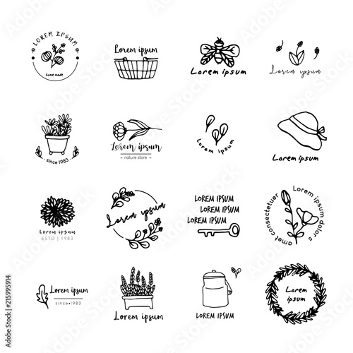 Ideas For Logo Design Doodle Drawing Flat Design Stock