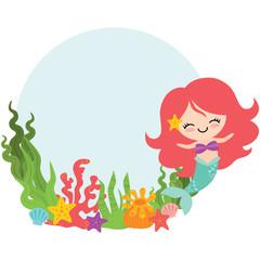 Vector Mermaid Circle Wreath Illustration
