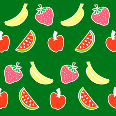 Collection of cartoon juicy fruits and berry. Vector illustration. Set of colorful fruit and berries. Fruit hand drawn in doodle style.