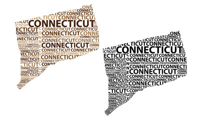 Sketch Connecticut (United States of America, The Constitution State, The Nutmeg State, The Provisions State) letter text map, Connecticut map - in the shape of the continent, Map Connecticut - brown