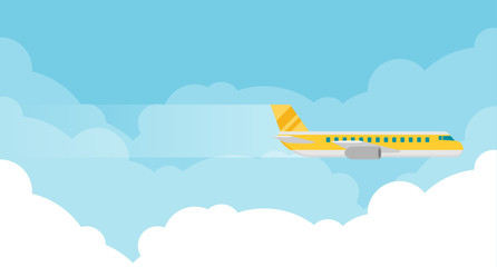 Plane or airplane in the sky vector illustration in flat style