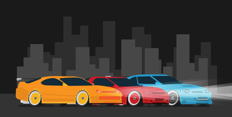 Flat racing car set in the night city. Street illegal racing. Vector. Eps 10