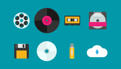 Flat vector evolution of storage devices Wall mural