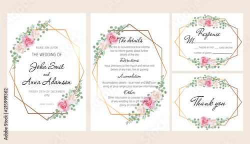"Beautiful Wedding Invitation Templates: ""Beautiful Modern Geometric Wedding Invitation Set With"