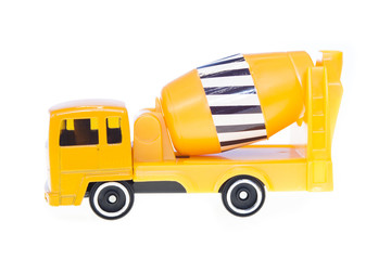 yellow cistern truck for concrete. toy, isolated