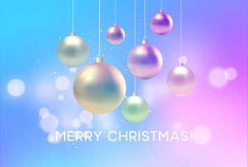 Christmas blurred pink and blue background with bauble. Vector illustration