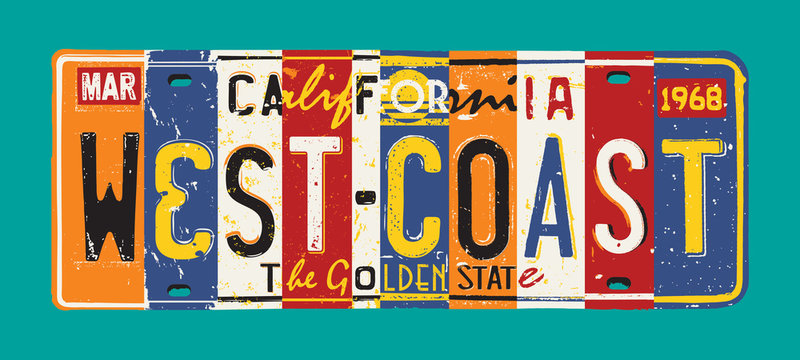 California West Coast license plate vector grunge patchwork