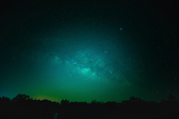 Sky at night with many star in the winter over forest, Beautiful clear sky at night, Wonderful bright galaxy with dark sky