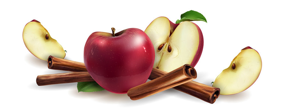 Cinnamon and red apples