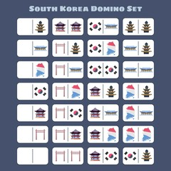 Korean domino set in flat style.