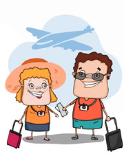 cute couple characters  going to travel and plane background