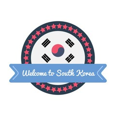 Korean welcome sticker in flat style.