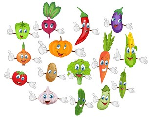 cartoon vegetable characters set