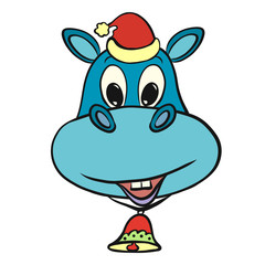 Cheerful kind hippopotamus in a Christmas hat, with a bell