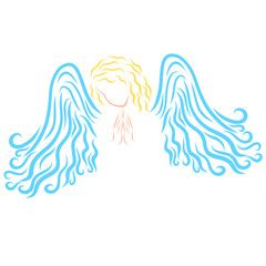 A bright praying angel, a gentle pattern