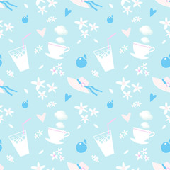 Seamless pattern with graphic elements on a summer theme