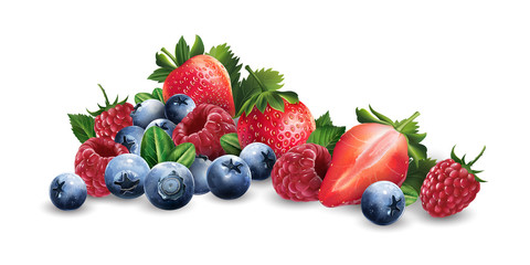 Raspberries, blueberries and strawberries