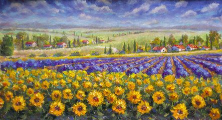 Poster Miel Tuscany summer Italian landscape. Violet blue lavender field, a yellow sun flower sunflowers, white houses with red roofs a bright palette knife painting, impressionism illustration nature artwork art