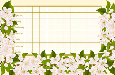Timetable weekly schedule with twig of apple tree with flowers vintage vector Illustration editable hand draw