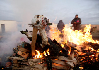 A fetus of llama is burning as part an offering  to the Pachamama (Mother Earth) on the first day of August to give thanks and ask for good fortune according to the Andean culture, in El Alto