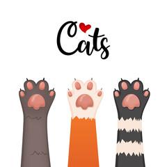 Cats background, kitten cartoon paws set, vector illustration