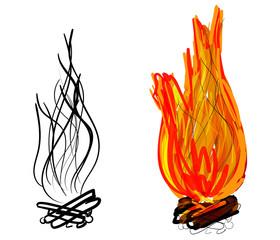 Campfire. Vector illustration.