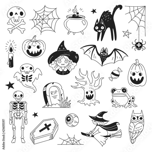 Halloween Doodle Collection Vector Illustration Of Funny Black And