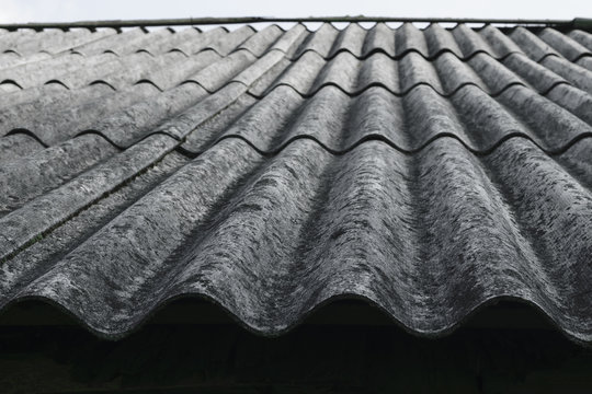 Old and covered with lichens wavy roof slates covers the barn