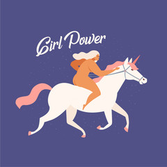 Girl riding a white unicorn funny illustration in vector with text quote you go girl. Women power consent.