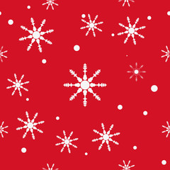 Abstract Christmas and New Year Seamless on red Background. snowflake pattern. Vector Illustration EPS 10