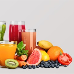 Poster de jardin Jus, Sirop Fresh ripe healthy fruits and juices