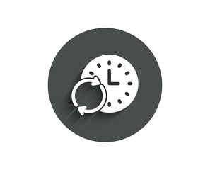 Time simple icon. Update clock or Deadline symbol. Time management sign. Circle flat button with shadow. Vector