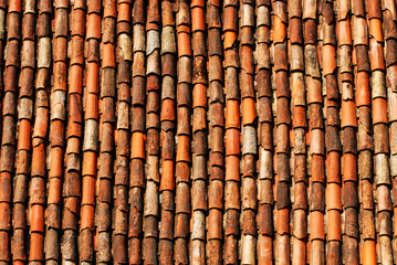 Typical mediterranean roof tiles for background and texture