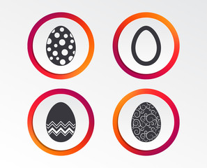 Easter eggs icons. Circles and floral patterns symbols. Tradition Pasch signs. Infographic design buttons. Circle templates. Vector