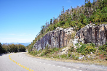 Whiteface Mountain Veterans Memorial Highway climbs Whiteface Mountain in the Adirondacks, New York State, USA.