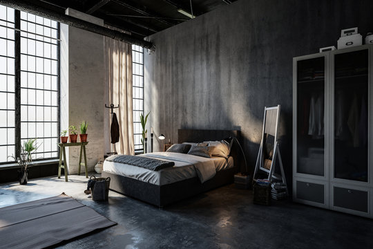 Gloomy modern spacious attic bedroom interior